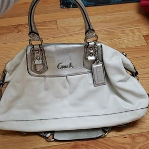 Beautiful silver and white coach bag